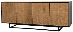 "76"" Sideboard Mahogany Hand Rubbed Black Teak Base Four Doors Black Brown"