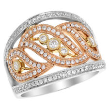 Tone Right Hand Cocktail Fashion Ring 18K Rose White Yellow Gold Two