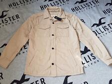 New Men's Hollister Military Shirt Jacket Size S Khaki
