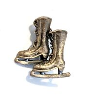 """Ice Skates * Vintage Pewter Pinback Brooch Pin 1"""" * Combine Shipping!"""