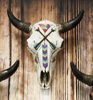 "10.75"" High Steer Bison Buffalo Bull Cow Skull Head w/ Crossed Arrows Wall Decor"