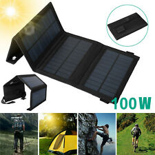 100W USB Solar Panel Kit Folding Power Bank Outdoor Camping Hiking Phone Charger
