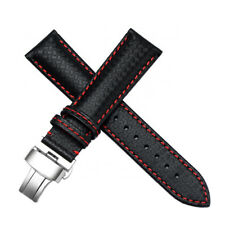 22mm Black Carbon Fiber Leather Watch Band Strap Made For Citizen Eco-Drive