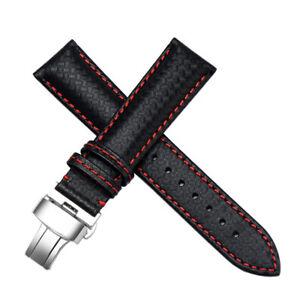 22mm Nero Carbon Fiber Pelle Orologio con Cinturino Fatto Per CITIZEN Eco-Drive