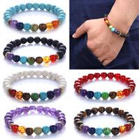 8MM 7 Chakra Healing Beaded Bracelet Lava Stone Beaded Diffuser Bracelet Jewelry