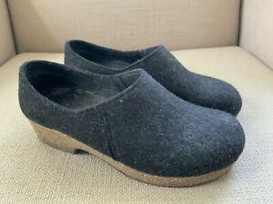 Haflinger Charcoal Gray Wool Closed Heel Slip On Clogs Slippers EUR 37 US 6.5