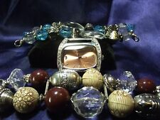Woman's Narmi Watch with 2 Beaded Bands **Brown & Turquoise**Vintage** B77-B050
