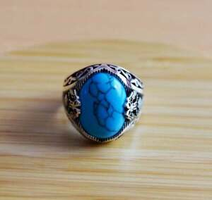 925 Sterling Silver Certified Natural 5Ct Turquoise Unique Design Mens Ring