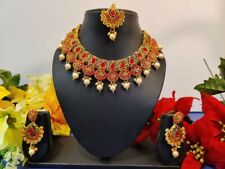 Indian Pakistani Bollywood Meenakari Kundan Necklace Brass Gold Plated Ethnic