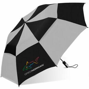 "Greg Norman  Shark 56"" Double Canopy Folding 2-Person Umbrella EC"