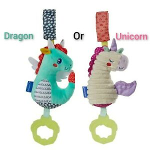 Infantino Teether BABY TOY 0+ BPA free Chime unicorn 🦄 OR dragon 🐲stroller CAR