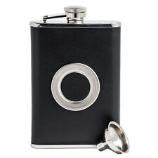 Black Stainless Steel Hip Flask With Collapsible SHOT GLASS Wraped with Leather