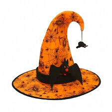 CHILD ORANGE Wicked Witch Hat With Black Bat Band & Hanging Spider Accent
