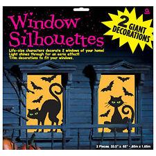 2 Gatos embrujada Fiesta De Halloween Murciélagos espeluznante siluetas gigante decoraciones de ventana
