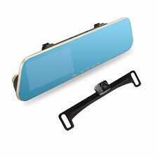 2in1 Dual Lens 1080P HD DVR Rearview Mirror Monitor + CCD License Plate Camera