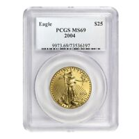 2004 1/2 oz $25 Gold American Eagle Coin PCGS MS 69