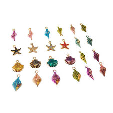 20 pcs Assorted Enamel Golden Alloy Shells Charms Dangles Pendant Findings
