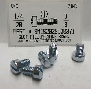 1/4-20x3/8 Fillister Head Slotted Machine Screws Steel Zinc Plated (12)