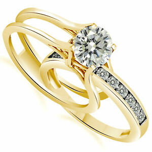 1.75Ct 14K Solid Yellow Gold Engagement Ring And Wedding Band 2 Piece Set