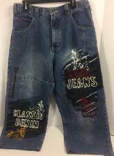 Paco Jeans Hip Hop Baggy Loose Jeans Men's Big Pockets 33x25 Skaters Painted