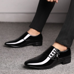 Men Pointy Dress Shoes Oxfords Business Suits Formal Shoes Block Patent Leather