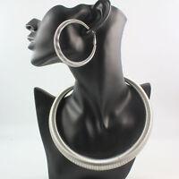Women Trendy Metal Alloy Hoop Choker Bib Collar Necklace Earring Jewelry Set