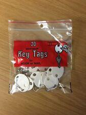 20 Snap-Hook Key Tags for Hook or Nail (Writable White Vulcanized Fiber) New