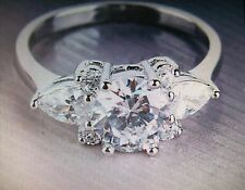 WHITE TOPAZ ROUND & PEAR CUT OVAL CLUSTER RING SIZE R 18K WHITE GOLD FILLED