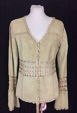 Vintage Fine Suede And Lace Crochet Hippie/Festival Jacket. NWOT. Medium. Mint!