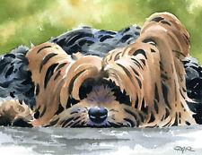 """Yorkshire Terrier"" Watercolor Dog ART Print Signed by Artist DJR"