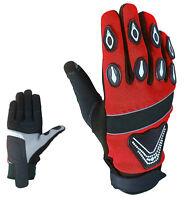 Sport Motorrad Rot Handschuhe Vollfinger Sommer Leder Gloves Gr M