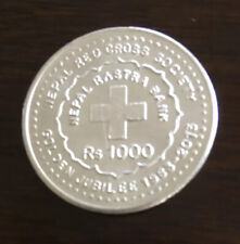 Rs 1000 Golden Jubilee of Nepal Red Cross movement commemorative silver coin UNC