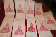 9 MACHINE EMBROIDERED VICTORIAN DRESSES.