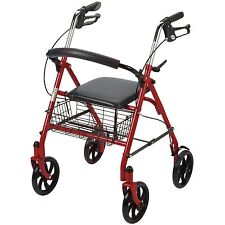 New Durable Drive Red Rollator Rolling Walker Folding Large Wheels Seat Basket