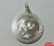 New Chinese Zodiac Horoscope 999 fine Silver Round Year of Rooster Pendant charm
