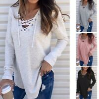 Women's V-Neck Long Sleeve Loose Blouse T-Shirts Top Ladies Solid Casual Top Tee