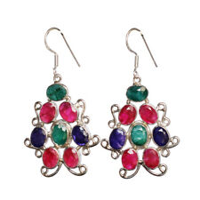 Ruby,Emerald & Sapphire Gemstone 925 Sterling Silver Dangle Earring FSJ-750