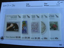 NEW ZEALAND 150 years of stamps, stamp on stamp set Sc 2017-21 MNH