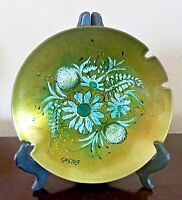 Vintage California Cloisonne Hand Decorated Enamel on Copper Signed Ashtray