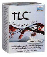 NEW NOW FOODS REAL TEA TLC THROAT AND LUNG CARE TEA CAFFEINE FREE 24 TEA BAGS