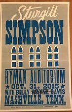 STURGILL SIMPSON Hatch Show Print RYMAN Poster NASHVILLE TN 10/31/2015