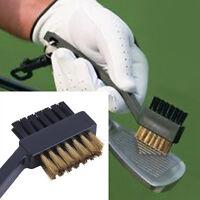 Black Dual Bristles Golf Club Groove Ball Cleaning Brush Cleaner&Snap Clip tU