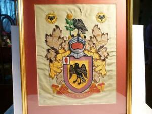 c1929 Sir Benjamin Dawson Nun Appleton YORK Coat of Arms SAMPLER