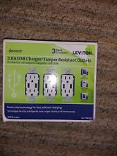 3 pack Leviton 15 Amp Decora Combination Duplex Outlet and USB Charger, White