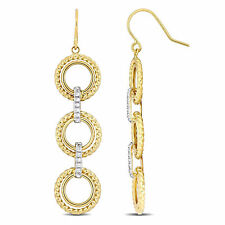 Amour 10k Yellow Gold 3-Tier Circle Dangle Earrings with White Gold Accents