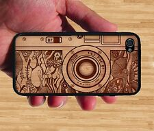 NEW Vintage Camera on Wood Design Rubber Silicone Case For iPhone X 8 7 6S SE 5S