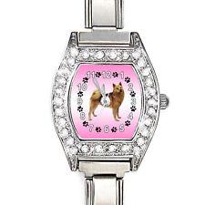 Finnish Spitz Dog CZ Womens Stainless Steel Italian Charms Bracelet Watch BJ1033