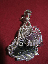 STERLING SILVER HAND MADE SPECTACULAR WIRE WRAP TOURMALINE QUARTZ RUBY PENDANT