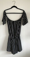 G By Guess Womens Off The Shoulder Striped Romper Size Medium Black