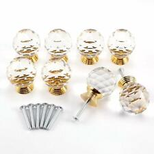 AKORD 8pcs Crystal Clear Cut Door Knobs 30mm Kitchen Cabinet Drawer Handle